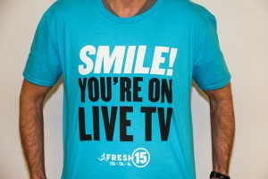 Live camera operators will be wearing shirts that say SMILE! YOU'RE ON LIVE TV